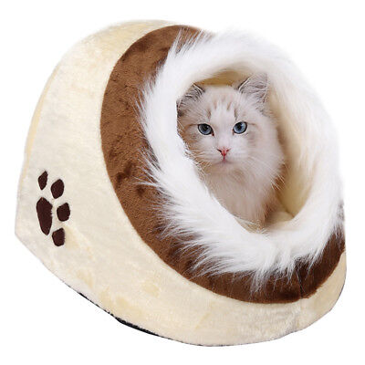 Beige/Brown Warm Cotton Igloo Pet Bed with Fur Trim For Dog/Puppy/Cat/Kitten New