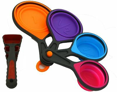 Silicone Measuring 8 Pc Set of Spoons Collapsible Cooking Kitchen Kit NEW