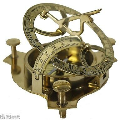 "4"" Brass Sundial Compass Solid Sun Dial Decor Home Office Nautical Antique Patio"