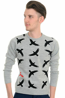 Mens Indie Hipster 70s Retro Vintage Running Fox Country Jumper