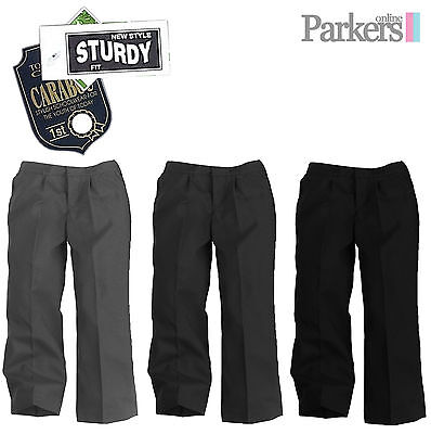 New Boys Generous Sturdy Fit School Trousers Teflon Coated Grey Black 8-14 Years