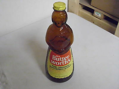 Vintage Amber Glass Butterworths Syrup Jar 9 7/8 Inches With Lable