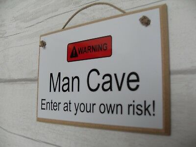 Man Cave Plaque Sign Funny Gift Husband Son Brother Boyfiend Dad Warning