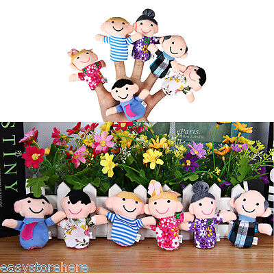 6x Family Finger Puppets Soft Cloth Toy Play Learn Story Doll Party Bag Fillers