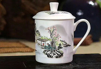 Large White Bone China Porcelain Lidded Cup with Chinese Country Landscape