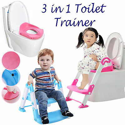 Kids Kit Toilet Potty Seat Trainer Step Up 3 In 1 Bathroom Foldable Ladder Stool