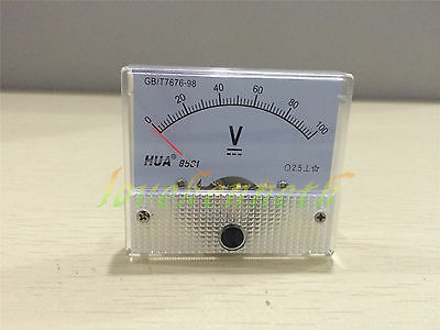 85C1 Analog Amp Panel Meter Current Ammeter From DC0-5V DC0-20A To DC 0-100V