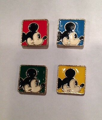 SET of 4 DISNEY MICKEY MOUSE GOLD-TONE ENAMEL BUTTON COVERS