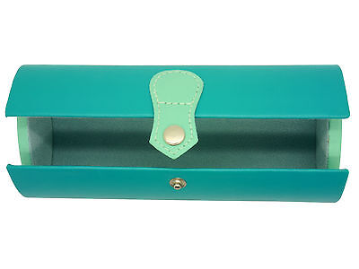 Ladies hard Teal Satchel Glasses Case Press Stud Protective lining gift idea