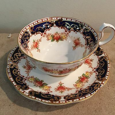Royal Standard England Cobalt Blue, Gold Floral Tea Cup and Saucer Set