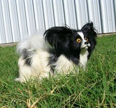 Realistic Lifelike Papillon Dog Rabbit/Goat Fur Animal D754BL