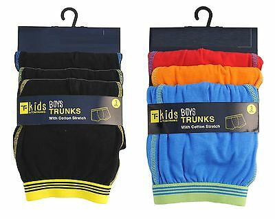 Boys 3 Pack Boxers Trunks Underwear Cotton 7-13 Years Bnwt