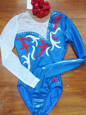 Alpha Factor Patriotic Gymnastics Foil Crystals ASM Leotard