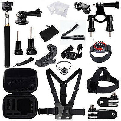 27-In-1 Sport Accessory Kit Set w/ Case Riding For GoPro Hero 4 3+ 3 2 1