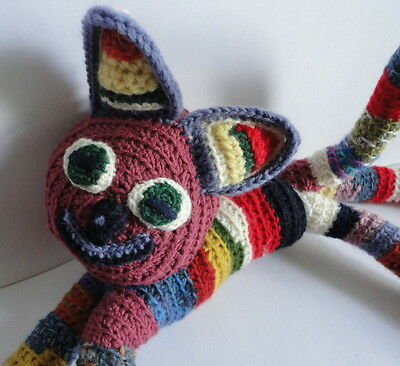 Crochet Hand Made Cat Kitty Poiseable Wire Body Cottage Craft Plush Toy