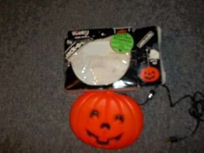 Vintage Blinky Plastic Halloween Pumpkin Blow Mold Hanging Window Light w/cord