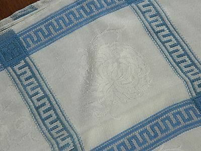 Beautiful Antique White Linen Tablecloth w/ Blue Greek Key & Chrysanthemums