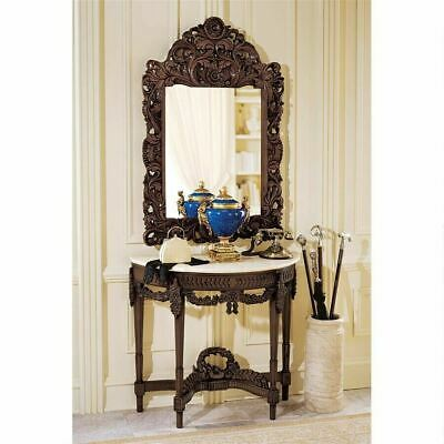 Antique French Replica Hand-Carved Wooden Console Table Marble Top & Mirror Set