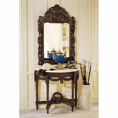 Antique Neoclassical French Hand Carving Console Table Marble Top & Mirror Set