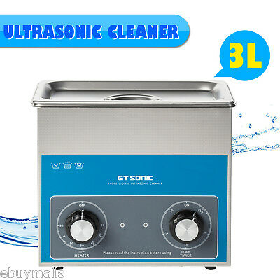 New Stainless Steel 3L Liter Industry Heated Ultrasonic Cleaner Heater Timer US