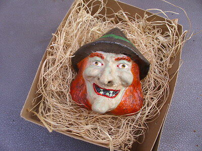 New 3D Dresden Paper Halloween Ornament Witch Head Nose Wart w Hat Decoration