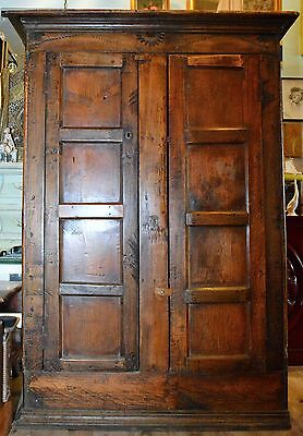 Antique Primitive Carved Wood Pine Wardrobe Cabinet Armoire Pantry Furniture