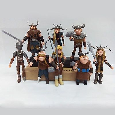 Movie How to Train Your Dragon 8 pcs Figures Hiccup Astrid Stoick & Ruffnut
