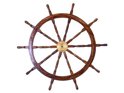 """Deluxe  Large Ship Steering Wheel 60"""" Solid Wood and Brass Hub Nautical Decor"""