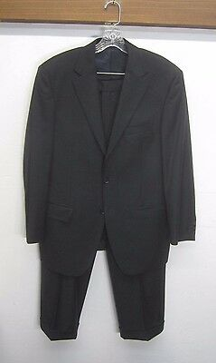 vtg Enzo Tovare Suit Blazer & Pants black super 150's wool sz 42R made in Italy