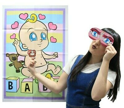 PIN THE DUMMY ON THE BABY Shower Party Game Girl Unisex MULTI PLAYER BABY GAMES