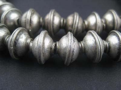 African Berber Silver Bicone Beads (9x12mm)  Morocco