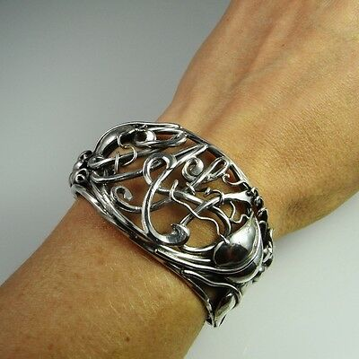 Antique Art Nouveau Silver Bracelet Bangle Cuff Jugendstil Edwardian 925 R1579