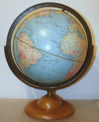 "Vintage 30's Replogle 12"" Standard Globe Mahogany Base Adjustable Angle"