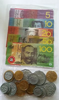 45 pcs Australian Play Money Coins and Notes - plastic coated notes won't tear