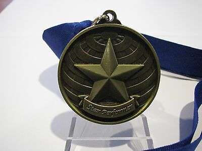 Dance Star Performer 3D 50mm Antique Gold  Medal Engraved / Ribbon FREE