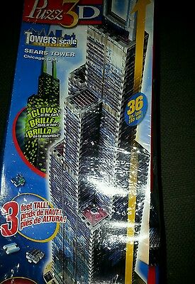 Wrebbit Puzz 3D Towers to Scale Sears Tower Factory Sealed 532 Peice 3D Puzzle