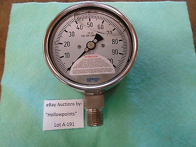 """A191 WIKA 4"""" 0-100 PSI Gauge 316 Stainless Steel 1/2"""" NPT Filled Swiss # 9832615"""