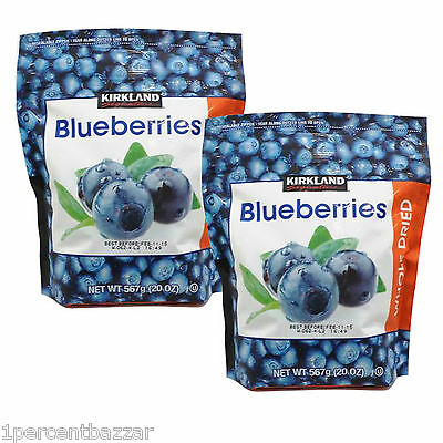 2 x Kirkland Signature Blueberries Whole Dried 567grams