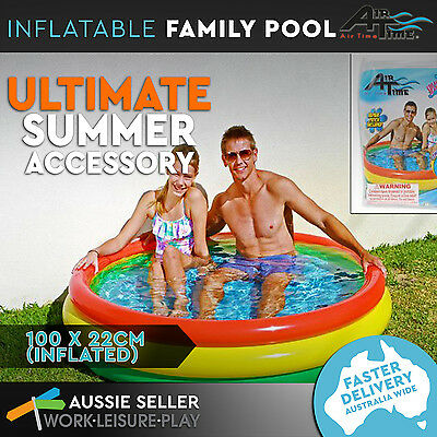Inflatable Kids Swimming Pool Blow Up Padded Floor Family Party Summer 100 x 22c