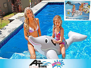 Inflatable Pool Dolphin Ride On Lounge Float Floatie Toy Summer 152 x 90cm Airti