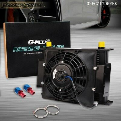 """Universal 30 Row AN10 Transmission Engine Oil Cooler + 7"""" 12V Fan +AN10 Fittings"""