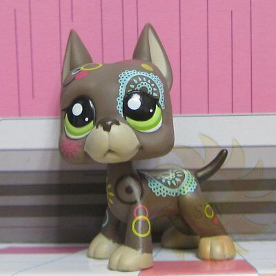 Littlest Pet Shop Collection LPS Toys #1439 Flower Tattoo Great Dane Puggy Dog