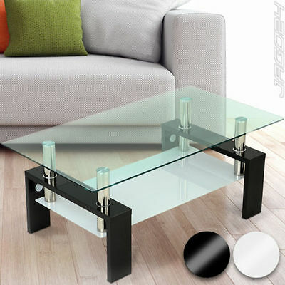 High Gloss Coffee Table MDF Frame Safety Glass Tabletop Living Room Furniture