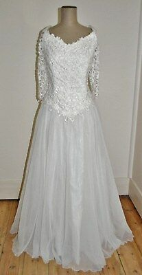 Vintage 80's Lace Applique Bodice Wedding Gown/Evening Dress/Speciall Ocassion