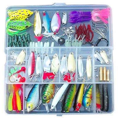 100 Fishing Lures Spinners Plugs Spoons Soft Bait Pike Trout Salmon+Box Set SH