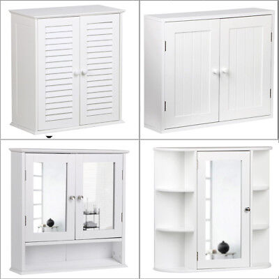 Bathroom Wall Cabinet Mirror Single & 2 Door Storage Mounted Cupboard Wood White