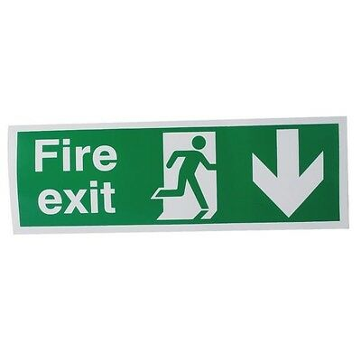 Signs and Labels Safety Sign Fire Exit Running Man Arrow Down 150x450mm E100A/S