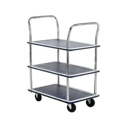 Barton 3 Shelf Trolley with Chrome Handles Silver and Blue PST3