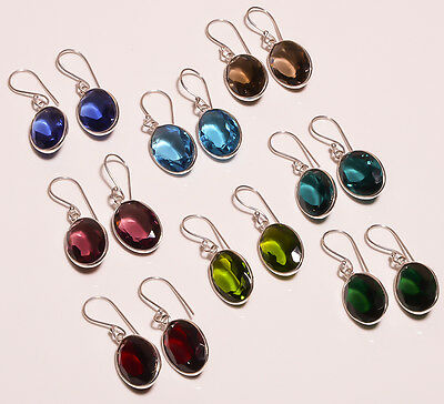 Multi stones eight earrings pair wholesale lot .925 silver free shipping gift