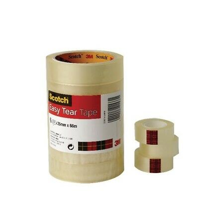 3M Scotch Easy Tear Clear Tape 19mm x33 Metres Pack of 8